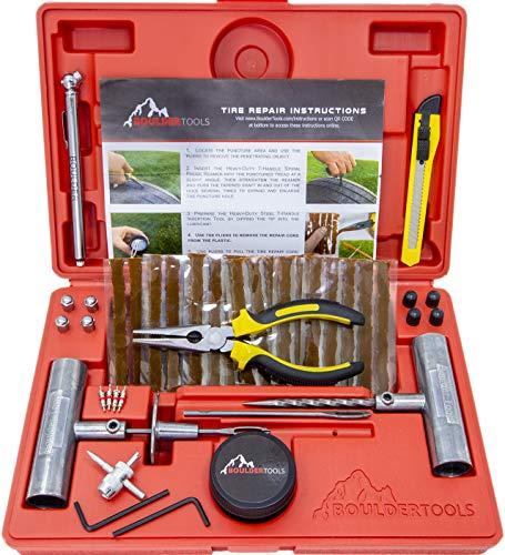 Boulder Tools – Kit de reparacion de neumaticos de alta resistencia para coche, camion, RV,SUV, Todoterreno, moto, tractor, remolque. Kit de reparacion de pinchazos de llantas planas