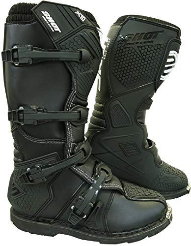 Shot X10 2.0 - Botas de motocross (talla 46), color negro