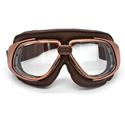 PESO LIGERO. Estas gafas de moto piloto antiguas están cerca de su cara y ojos, no ejercerán presión sobre su nariz. MATERIALES DE ALTA CALIDAD. El material ABS importado, el marco de esponja suave, el cinturón de gafas de alta elasticidad te hacen sentir cómodo. VISIÓN CLARA. Hecho con una lente de PC, es resistente al agua, al polvo y resistente, lo que lo hace más seguro al conducir una motocicleta. Múltiples usos. Adecuado para carreras de ATV / UTV, esquí, motos, competiciones de ciclismo, montañismo y más. EL REGALO PERFECTO. Esta se puede usar como regalo de vacaciones para familiares, amigos y niños, etc.