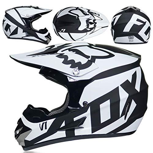 Casco Motocross Nino 5~12 Anos ECE Homologado Casco Moto Integral Unisex para Moto De Cross Descenso Enduro MTB Quad BMX Bicicleta (Gafas+Mascara+Guantes) con Diseno Fox - NNYY-01 - Negro Blanco,XL