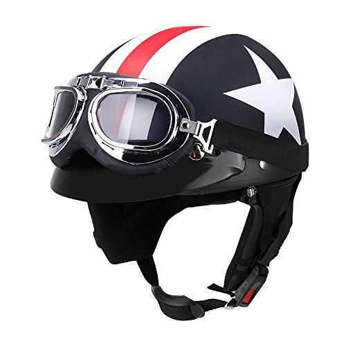 GoolRC Casco de Moto Medio Abierto con Gafas Visor Bufanda Casco de Motociclista Scooter Touring