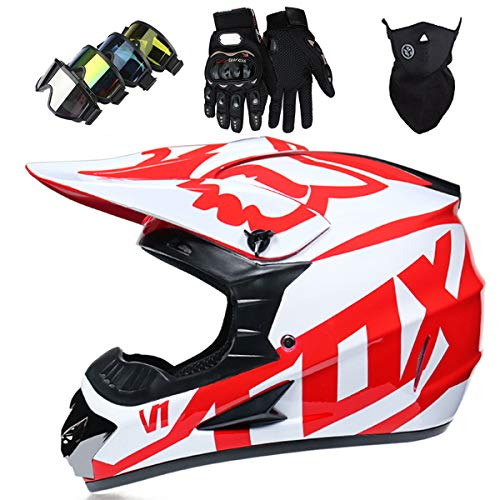 Casco de Motocicleta, Conjunto de Casco de Motocross Todo Terreno MTB MX de Integrales para Ninos y Adultos (Gafas + Mascara + Guantes) con Diseno FOX - Certificacion DOT & ECE, Blanco Rojo