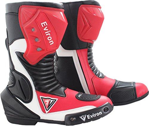 Botas protectoras impermeables para moto, color rojo y blanco de Eviron, color, talla 42.5