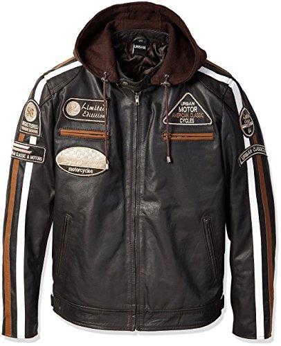 Chaqueta Moto Hombre en Cuero Urban Leather '58 GENTS' | Chaqueta Cuero Hombre | Cazadora de Moto de Piel de Cordero | Armadura Removible para Espalda, Hombros y Codos Aprobada por la CE |Marron | L