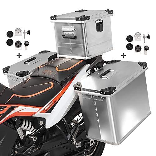 Volumen de entrega: 2x maleta aluminio de 34l, 1x baul aluminio 36L, 2x kit de montaje para el portaequipajes lateral de 16-18mm de diámetro. Set compuesto por 2x alforjas de aluminio de 34l, baul topcase 36l y kit de montaje para portaequipajes Importante: Soportes laterales y soporte de baul no incluido. Hecho de aluminio extremadamente duradero de 1,5 mm de espesor, 100% impermeable. El kit adaptador universal permite el montaje en maletas laterales de cualquier fabricante Adecuado para p.ej. Givi Monokey PL, PLX, Hepco Becker Cutout Xplorer, Lock It, Seitenträger, Five Stars, Kappa, SW-Motech Trax, Fehling, Givi Cam-Side, Hepco Becker, Touratech Alforja dimensiones: Altura 48cm, profundidad 26cm, anchura 36,5cm, volumen 34L. Dimensiones baul: Altura 38cm, profundidad 34cm, anchura 30cm, volumen 36L Nota: Adecuado para portaequipajes redondos y cuadrados con 16 mm o 18 mm de diámetro. Protección antirrobo gracias al bloqueo desde el interior, las carcasas se pueden desmontar sin necesidad de herramientas