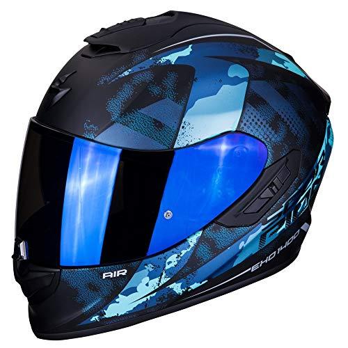 Scorpion - Casco integral EXO-1400 sylex negro mate azul de fibra de vidrio para scooter moto con visera interna SpeedView solar retractil, proteccion calota exterior TCT (XL)