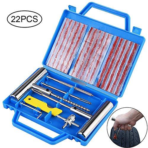 Faburo Kit de Reparacion de Neumaticos, Kit Repara Pinchazos Pequeno Herramienta de Reparacion de Pinchazos para Neumaticos